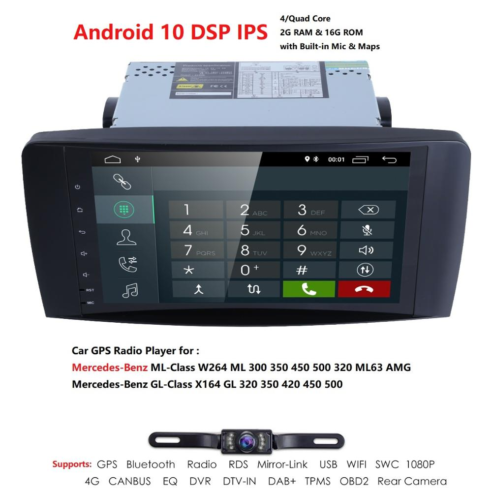 Ossuret Android 10 QuadCore NO-DVD GPS Navi Stereo for Mercedes Benz ML W164 ML300 GL X164 GL320 350 420 450 500 R W251 280 Cam image