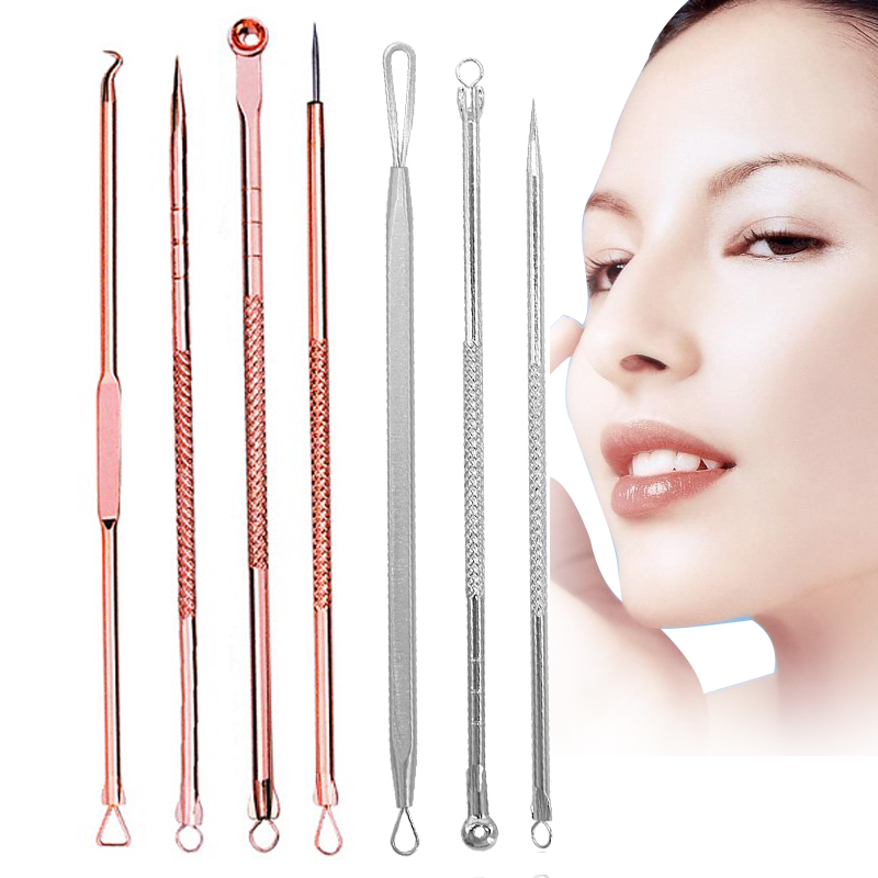 EFERO Blackhead Comedone Pimple Acne Extractor Remover Tool Set Blackheads Pimples Remover Tool Spoon For Face Cleaning