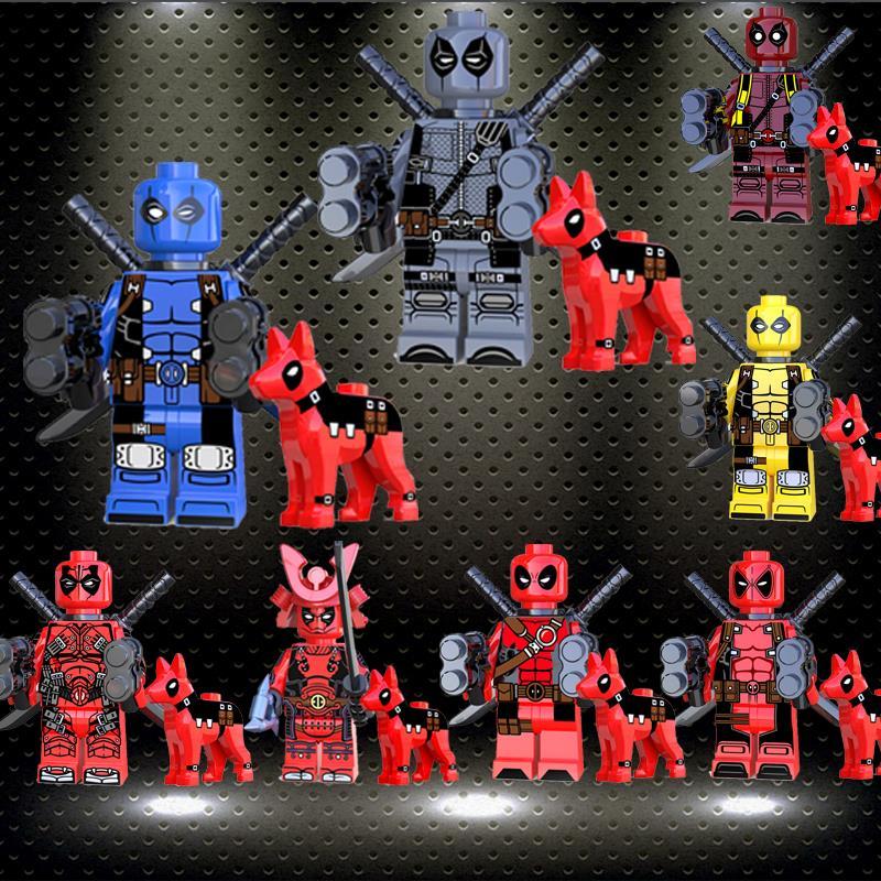 Ed Super Hero Building Blocks Avengers Marvel Deadpool Dog Iron Man War Machine Thor Action Fiugre Children Toy Gifts KT1030
