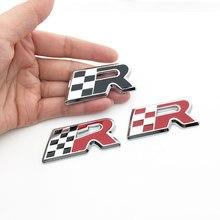 3d etiqueta de metal corrida bandeira r logotipo emblema emblema decalque estilo do carro para leon cupra altea ibiza toledo acessórios do carro