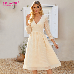 Image 1 - S. טעם אלגנטי V צוואר שיפון Midi שמלת עבור נשים בוהמי סגנון Slim חורף מסיבת Vestidos דה סתיו אונליין שמלות 2020