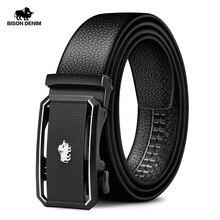 BISON DENIM cinturones automáticos de cuero de moda para hombre, cinturones masculinos de lujo, informales, con hebilla automática, de diseñador, color negro, N71434