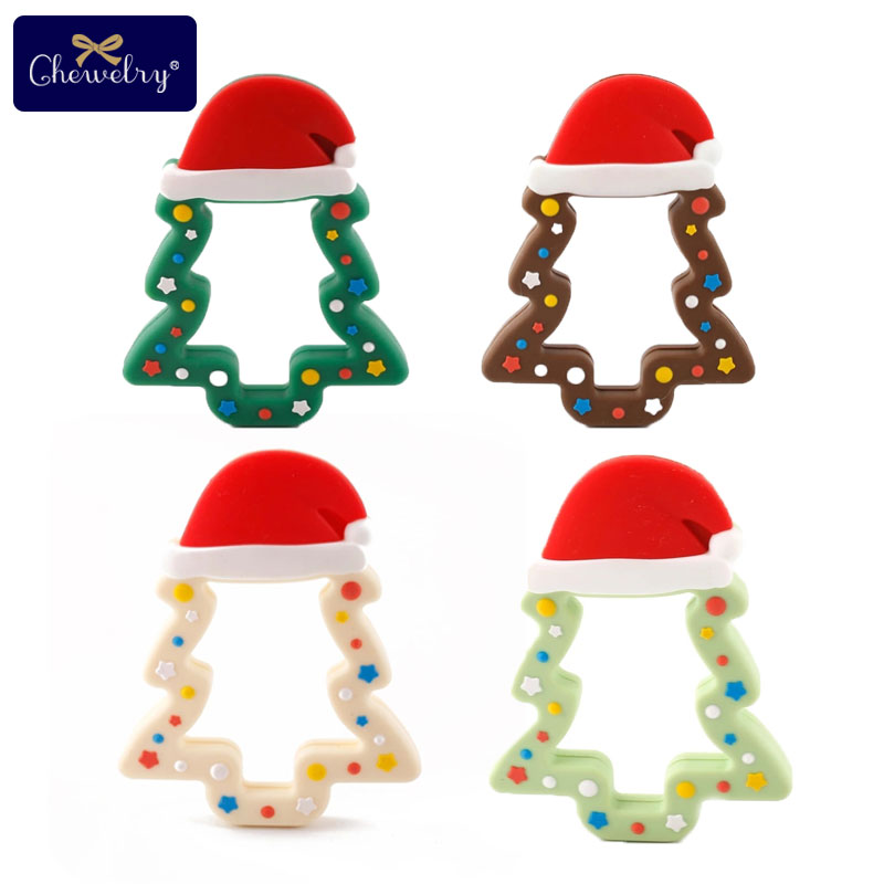 1pc Silicone Snowflak Teether Christmas Tree Star Pendant Christmas Deer Gifts For Baby Elk Gingerbread Mans Baby Teether Gifts