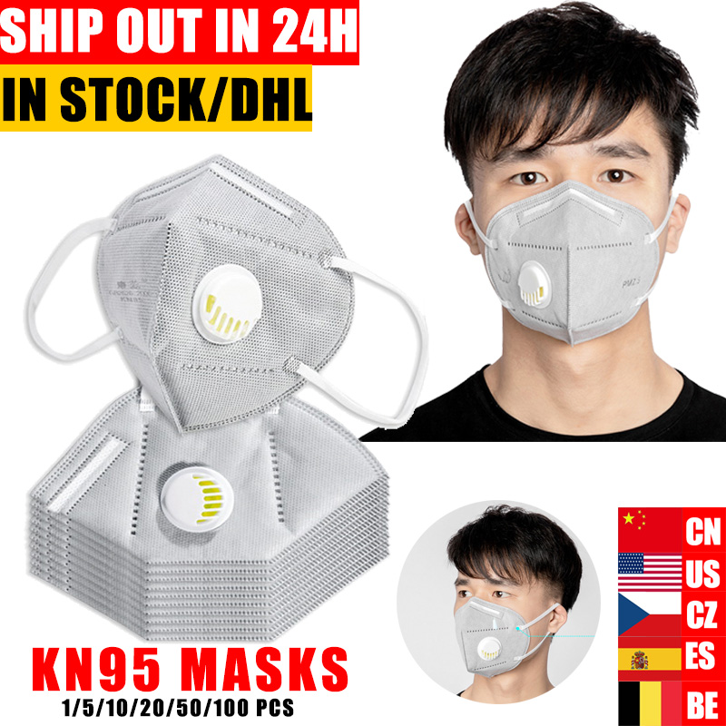 10/50ps N95 Folding Valved Dust Mask PM2.5 Anti Fog  Formaldehyde Bad Smell Bacteria Proof Face Mask Anti Bacteria FFP KF94