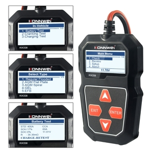 Image 1 - 2021 nowy KW208 Tester akumulatora samochodowego ładowarka analizator 12V 100 2000CCA instalacja ładująca Test