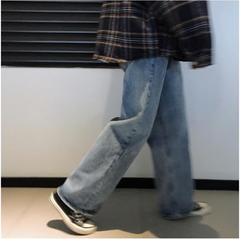 Men Elastic Waist Straight Wide Leg Denim Pants Male Vintage Fashion Casual Loose Jeans Trouser Hip Hop Harem Pants