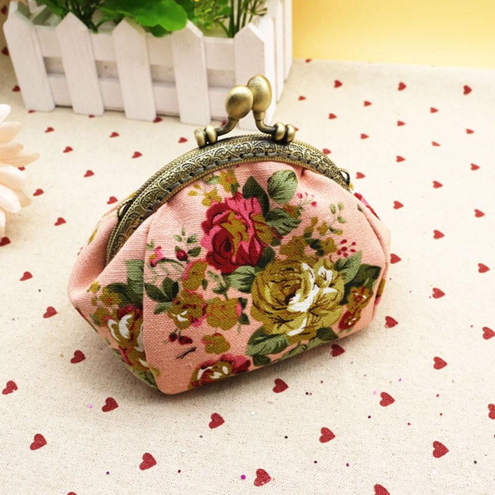 Mini Coin Purse Wallet Fabric Retro Floral Embroidered Women's 1PC Buckle Clasp