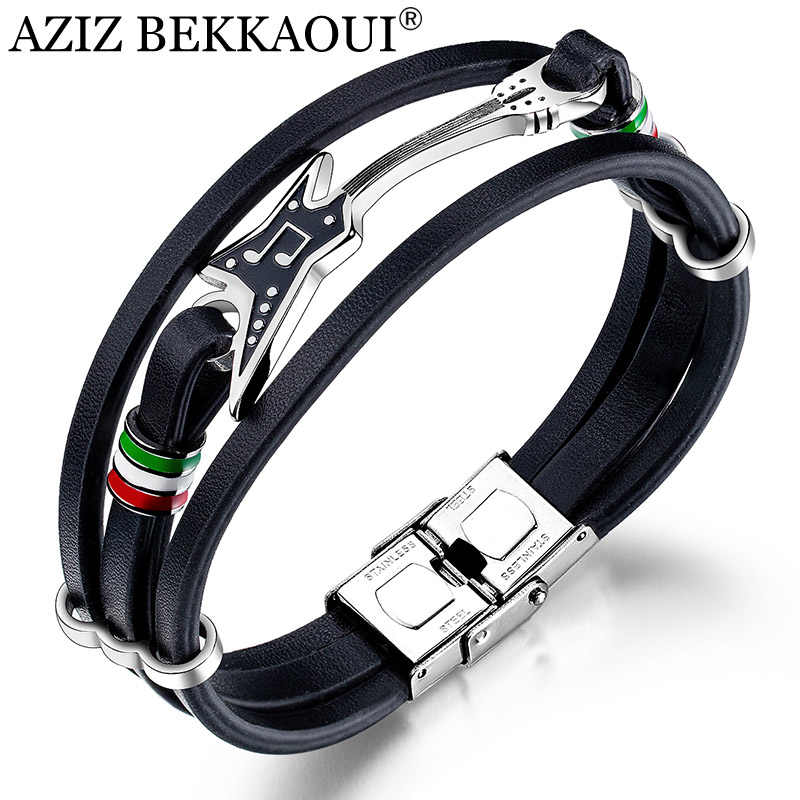 AZIZ BEKKAOUI Stainless Steel Guitar Bracelets Customized Logo Leather Bracelet for Men Rope Bangle Music Fans Gift Dropshipping