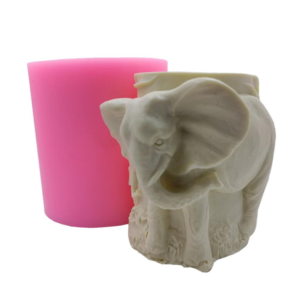 Elephant Design Pillar Candle Mold Wax Gypsum Molds Decorating Resin Crafts Mould