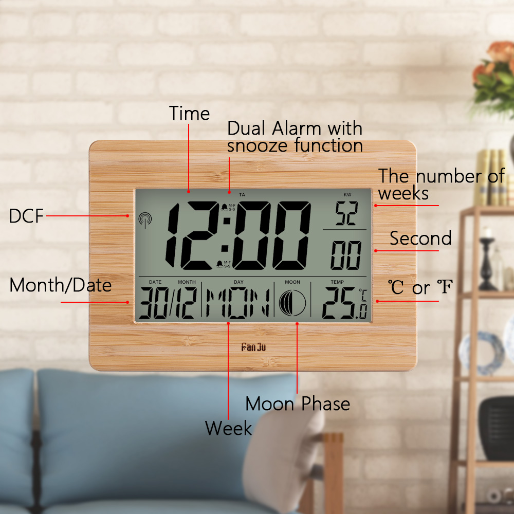 Image 4 - FanJu FJ3530 LCD Digital Wall Clock Alarm Big Size Number 