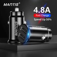 Mantis usb carregador de carro 4.8a mini carregador de telefone do carro adaptador no carro para samsung s10 plus xiaomi redmi nota 7 iphone 11 xr xs 8