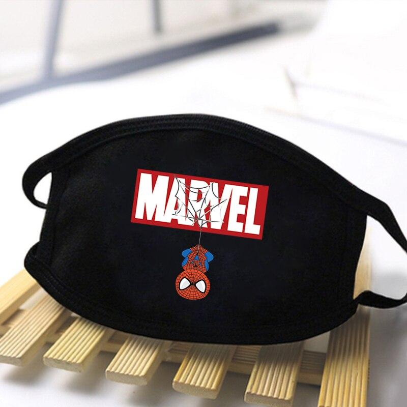 The Avengers Spiderman Unisex Face Masks Black Fashion Masks Warm Fashion Mouth-Muffle Washable Mask Dustproof Respirator