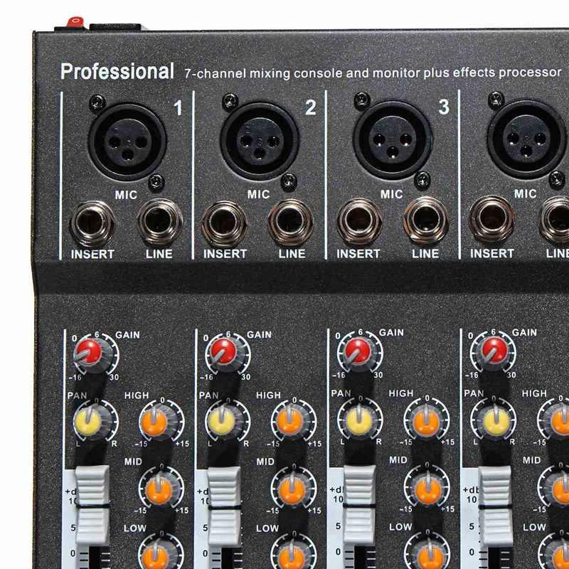 7 canales micrófono Digital mezclador de sonido consola 48V Phantom Power profesional Karaoke Audio mezclador amplificador con USB enchufe de la UE
