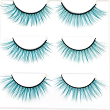 лучшая цена 3D False Mink Eyelashes Blue Purple Brown Long Lasting False Eyelash Soft Crisscross Fake Eyelashes Extension 3Pairs/set 2019
