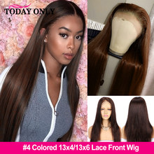 #4 Glueless 13x6 Straight Lace Front Wig Brazilian 360 Lace Frontal Wig Colored Human Hair Wigs For Black Women PrePlucked Remy(China)