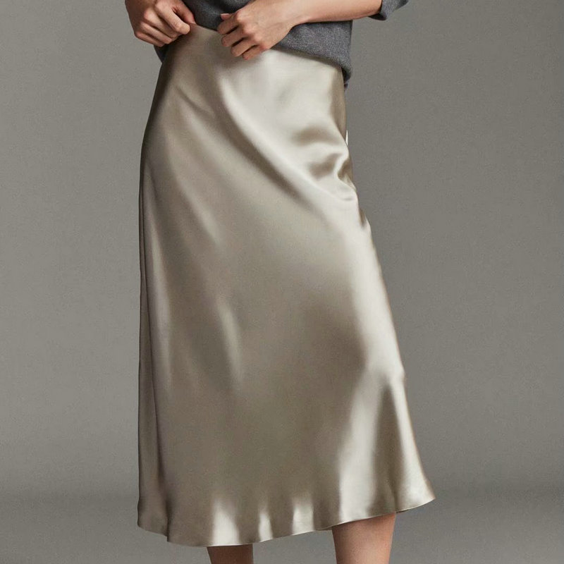 2019 New Hot Women Luxury Mid-calf Long Soft Smooth Silk Satin Skirts Office Lady Hight Waist Glossy Silver Black Party Skirt