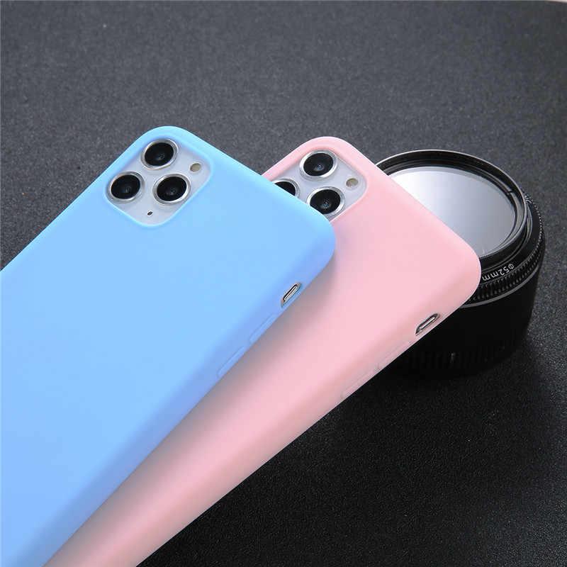 Ottwn Per il iPhone 11 XR Caso Semplice Solido di Colore Della Caramella Per il iPhone 11 X XS Max 6 6s 7 8 più di 5 5s SE Molle Del Silicone di TPU Della Copertura Posteriore