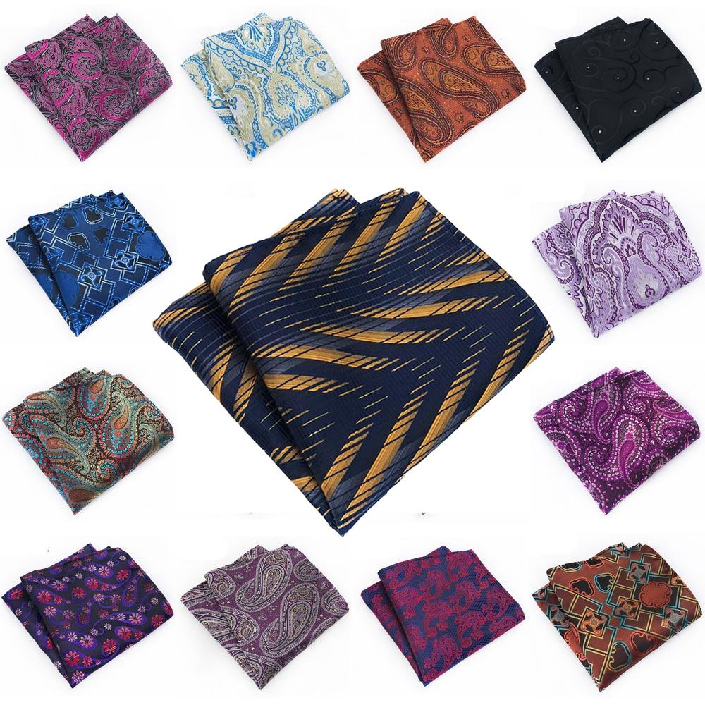 Men Pocket Square Paisley Floral Handkerchief Wedding Party Multi Colors Hanky