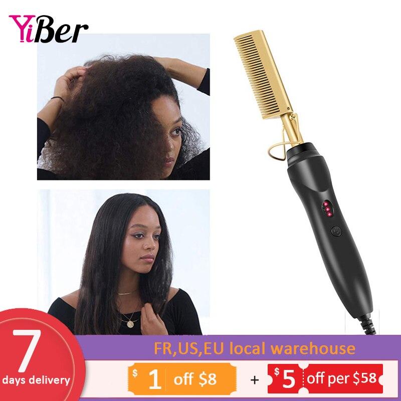 Multifunctional Beard Straightener Hot Comb Electric Quick beard iron Hair Curler Iron Brush Hair Styling Tool For Men