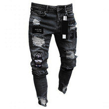 Сломанный дырка вышивка карандаш джинсы для мужчин мультфильм узор тонкий мужской брюки повседневный классический ковбойский молодой мужской бег брюки