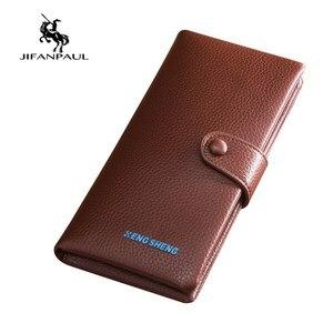 JIFANPAUL 2020 NEW Men's Long Wallet Litchi Wallet Retro Buckle Two Fold Wallet Long Bag Mobile Phone Case