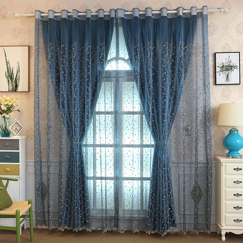 Fresh Pastoral Relief Embroidery Curtain for  Living Room Bedroom Shading Custom Blue Curtains for Bedroom