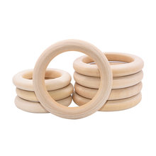 5-Natural Wood Hollow Circle Wood Teething beads Wooden Craft Ring for Jewelry Making/ DIY Art Ornament Accessories Kids Toys