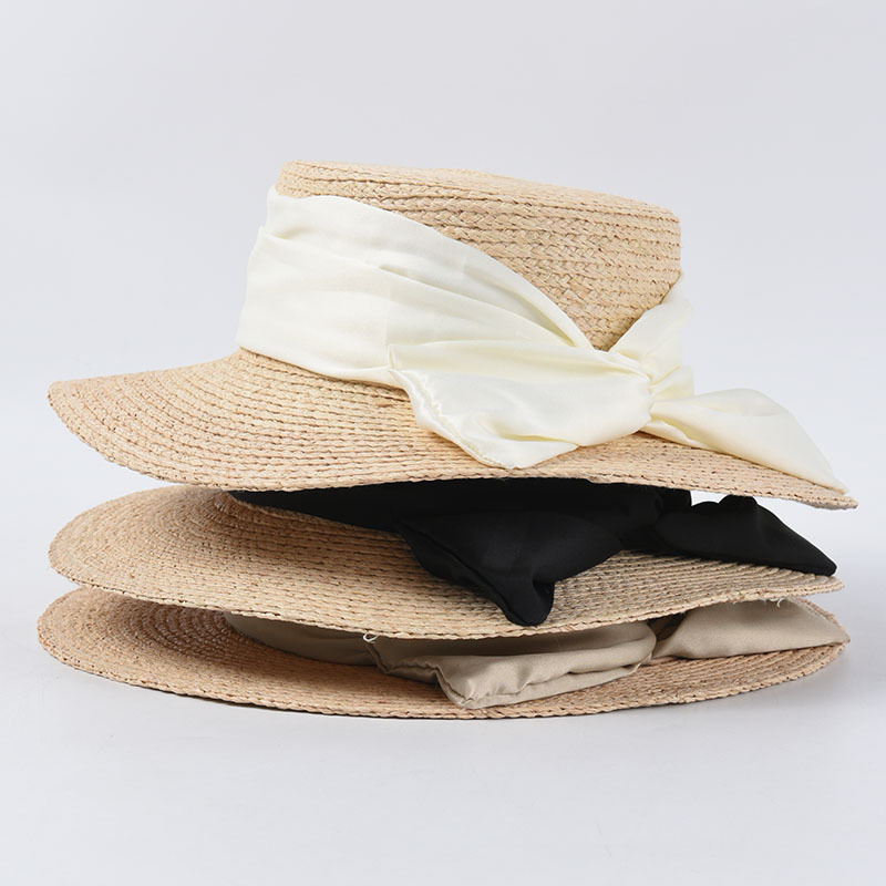 2020 Summer Flat Straw Hats Women Vacation Sun Hat With Bow Wide Brim Caps