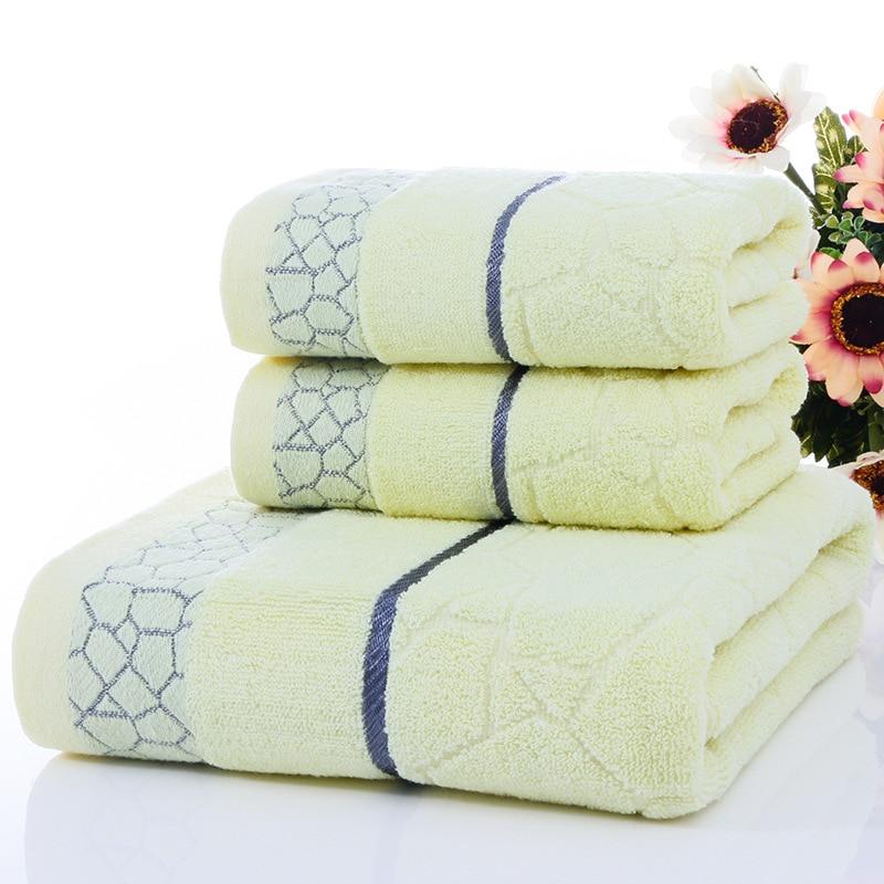 100 cotton Towels Set 2pcs face Towel 1pc Bath Towel set Soft and Comfortable bathroom towels