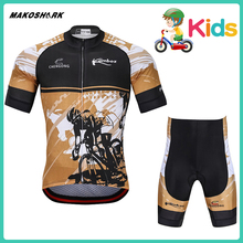 MAKOSHARK Children's Yellow Style Motobiker Summer Team Bicycle Suit  Racing Riding Jersey Pants Sets Motorcycle Quick Drying