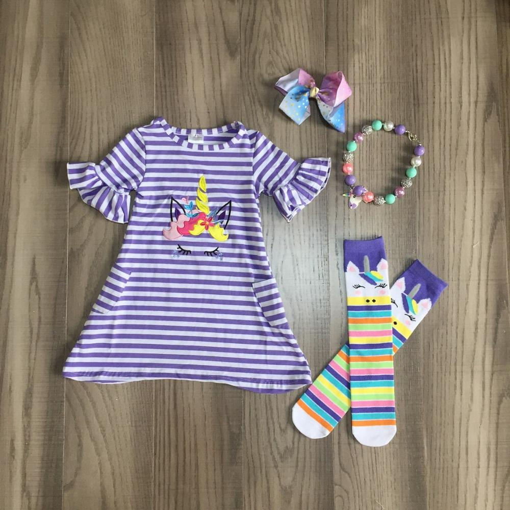Baby Girls Easter Dress Outfits Girls Stripe Unicorn Dress Matching Stocking And Accessories