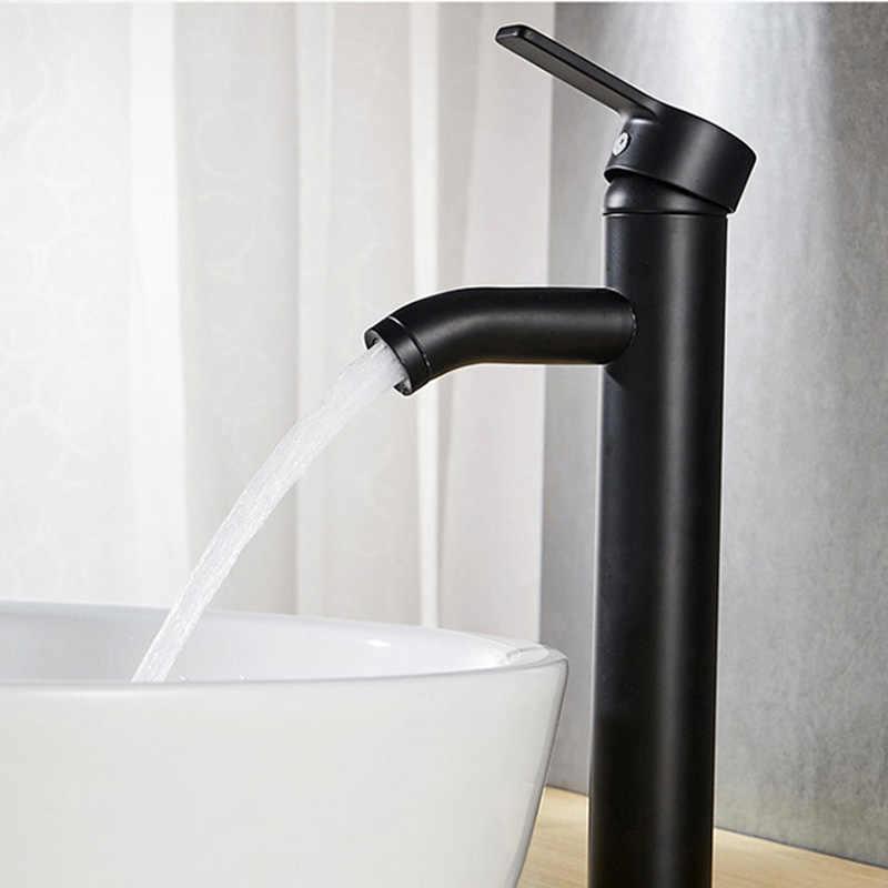 Di Vendita caldo In acciaio inox nero opaco glassata di vernice spray di acqua calda e fredda rubinetto bianco e nero tavola rotante rubinetto del bacino