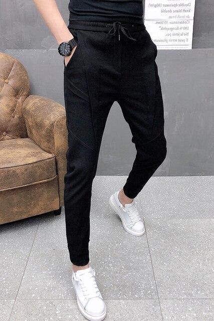 Fashion Korean Solid Joggers Men High Quality Autumn Winter Thick Pants Men Slim Fit Drawstring Mens Casual Pants Black/Gray 36 4