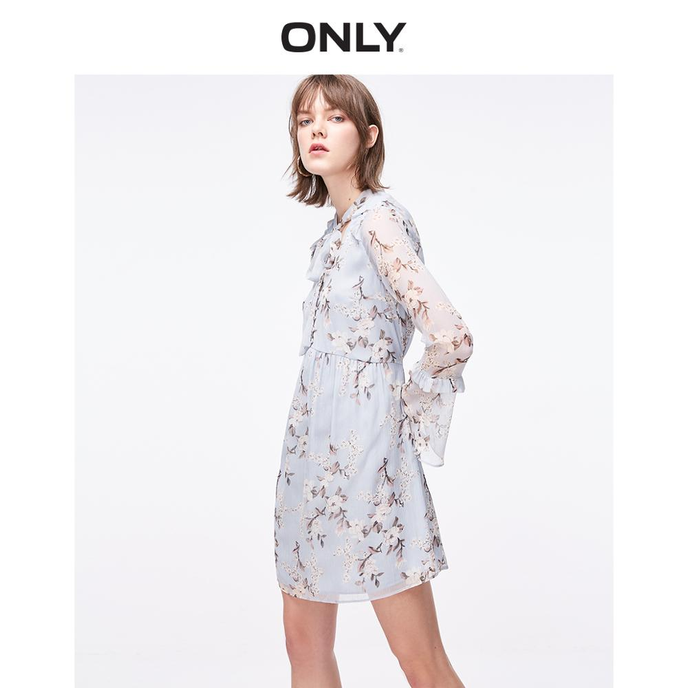 ONLY Women's Cinched Waist Flared Sleeves Floral Chiffon Dress | 119107576