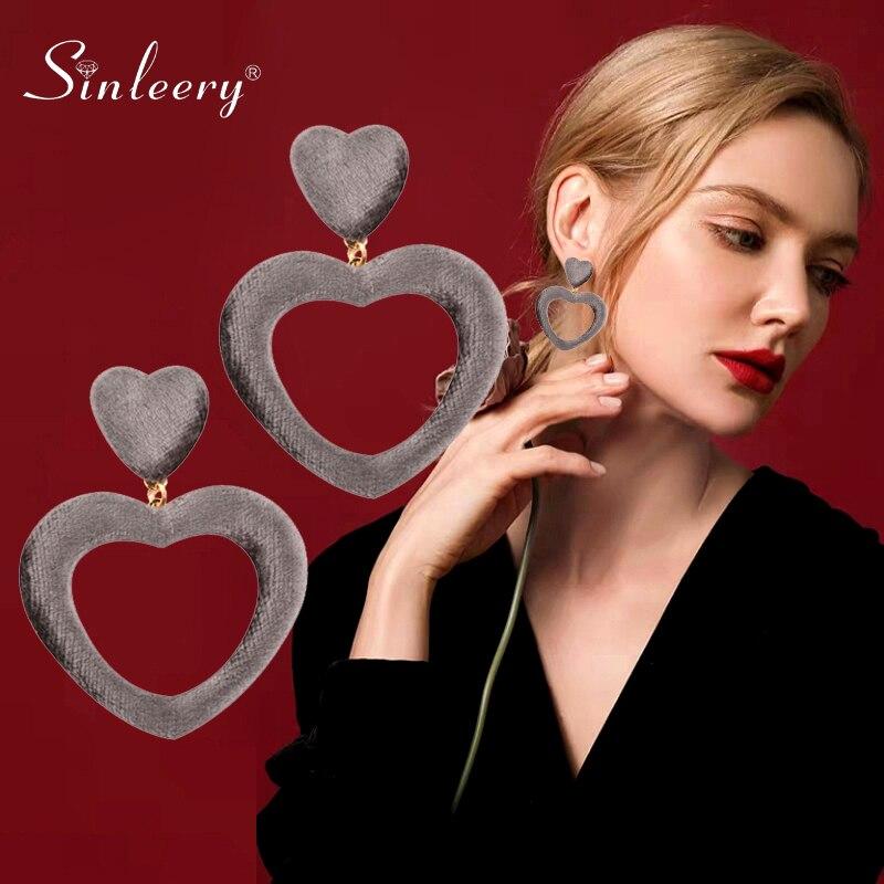 SINLEERY Sweet Big Hollow Love Heart Velvet Dangle Earrings For Women Statement Jewelry Winter Christmas Gifts ES162 SSB