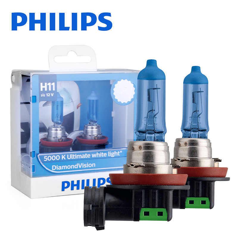 Philips h11 halogen 55W 12V Diamond Vision 5000K Ultimate White Light auto lamp H8 Headlight Original Car Accessories 2PCS
