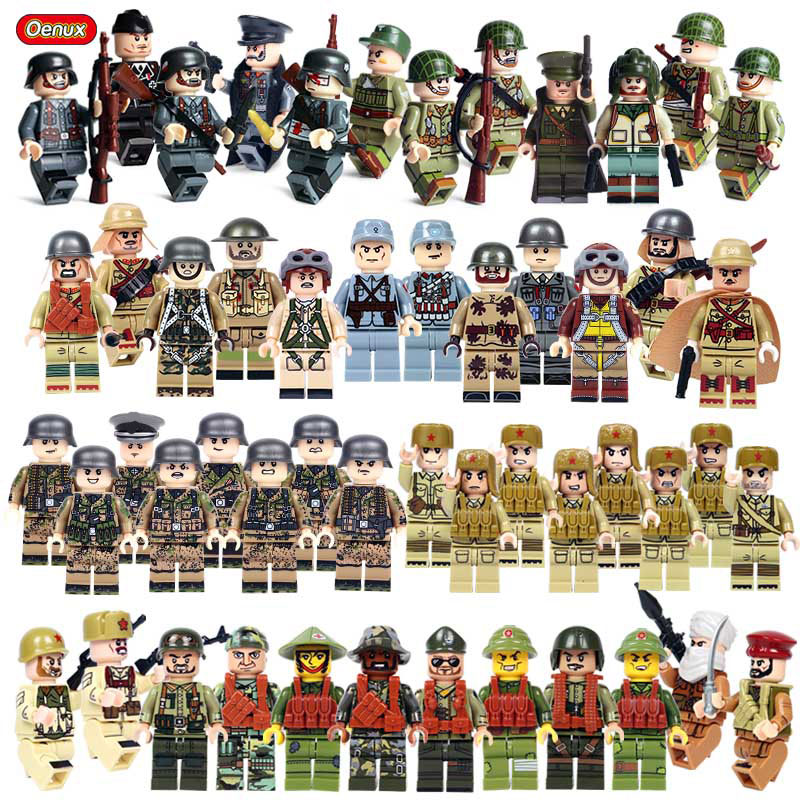 Oenux New World War 2 Mini Soldiers Figures Legoinglys Military Building Block WW2 US Soviet Army Brick MOC Toy For Children