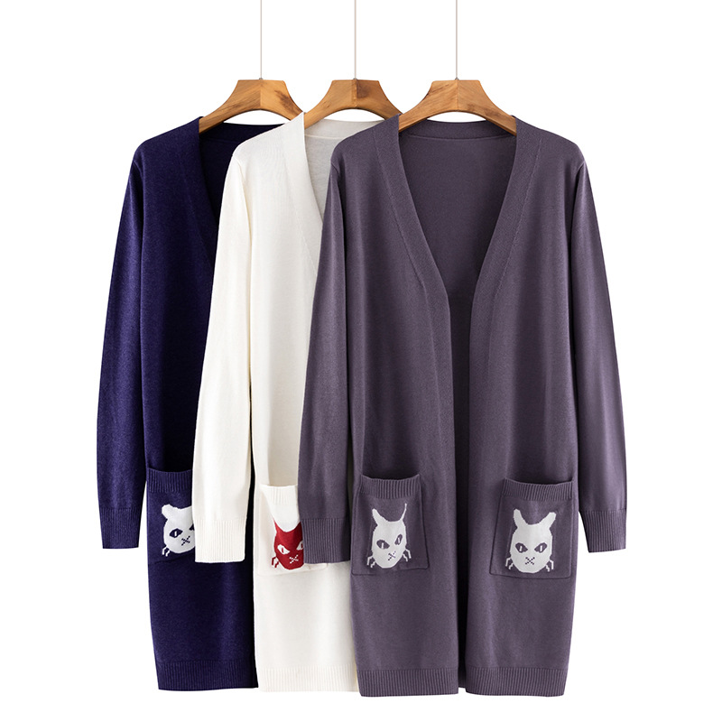 Ladies Wool Cashmere Cardigans 2020 Korean Solid Open Stitch Women Sweater Cute Cat Embroidery Pocket Long Cardigans Outerwear