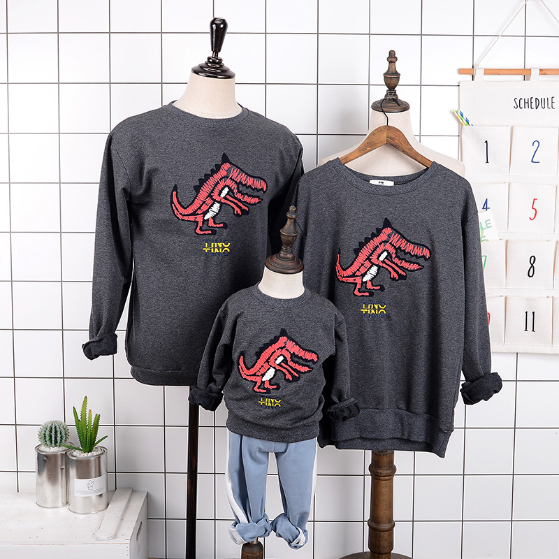 >2018 New Style <font><b>Autumn</b></font> <font><b>Clothing</b></font> Parent-child <font><b>Matching</b></font> Outfit round Neck Sweater Childrenswear Activity Customizable Embroidered D