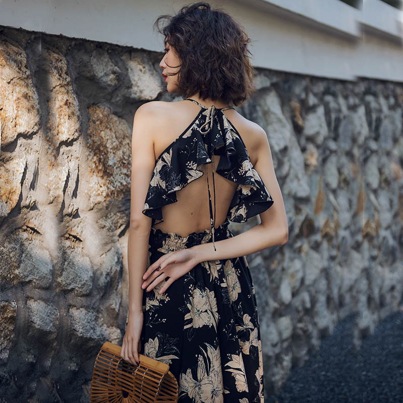 New <font><b>Style</b></font> WOMEN'S <font><b>Dress</b></font> Origional Design Big Hemline Printed <font><b>Halter</b></font> <font><b>Dress</b></font> <font><b>Sexy</b></font> Backless Beach Skirt Holiday Long Skirts image