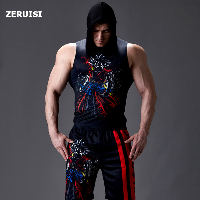 Men Sportswear Compression Suits Sleeveless Running Sets Clothes Joggers Training Gym Fitness Tracksuits Tank Top And Shorts