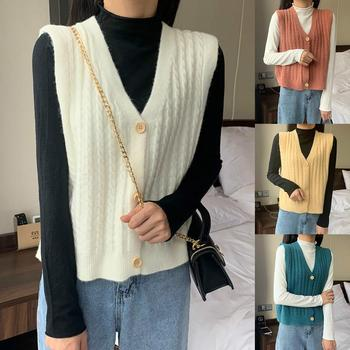 Women Solid Color V Neck Single-breasted Braid Knitted Cardigan Waistcoat Vest Autumn Coat image