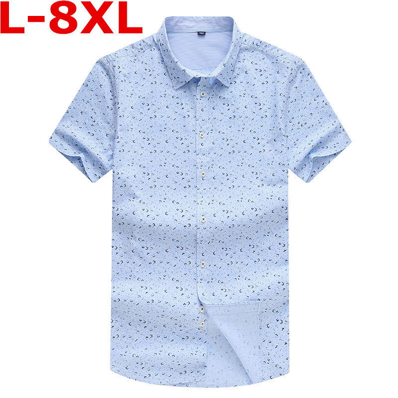 Plus Size  8XL 7XL 6XL Summer Men Shirt High Quality Short Sleeve Fashion Floral Printing Man Shirts Brand Male Dress Shirt