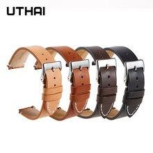 Ремешок UTHAI F08 из кожи для наручных часов, матовый мягкий простой тонкий браслет из воловьей кожи в стиле ретро, 16 мм 18 мм 20 мм 22 мм 24 мм