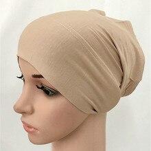 Мягкая обработанная вискоза, внутренняя шапочки под хиджаб мусульманский Эластичный Тюрбан Кепки исламский шарф дамская шляпа без полей Женская повязка на голову крышка для камеры плат mujer