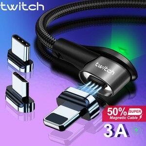 Магнитный кабель Twitch Fast 3A для iPhone 11 Samsung, зарядное устройство Quick Charge 3,0, Micro USB Type C, магнитный шнур для зарядки телефона