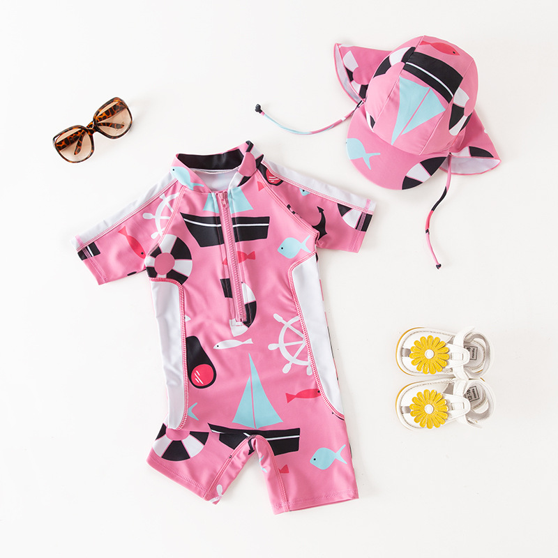 2020 New Sailing Boat Swimsuit Girl Children Swimming Suit Short Sleeve UV Protection One Piece Child Bathing Clothes Beach Wear