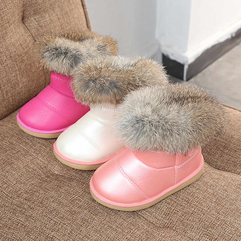 Unisex 2019 Peuter Meisje Laarzen Kinderen Winter Schoenen voor Jongens Zachte Bodem Student Bont Sneeuw Boot Kinderen Leren Schoenen Pluche laarzen