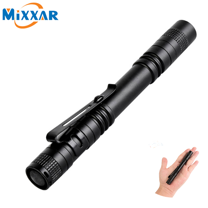 zk20 Dropshipping Pen Light Portable Mini LED Flashlight Torch XPE-R3 Flash Light  Hunting Camping Lamp By 2xAAA battery