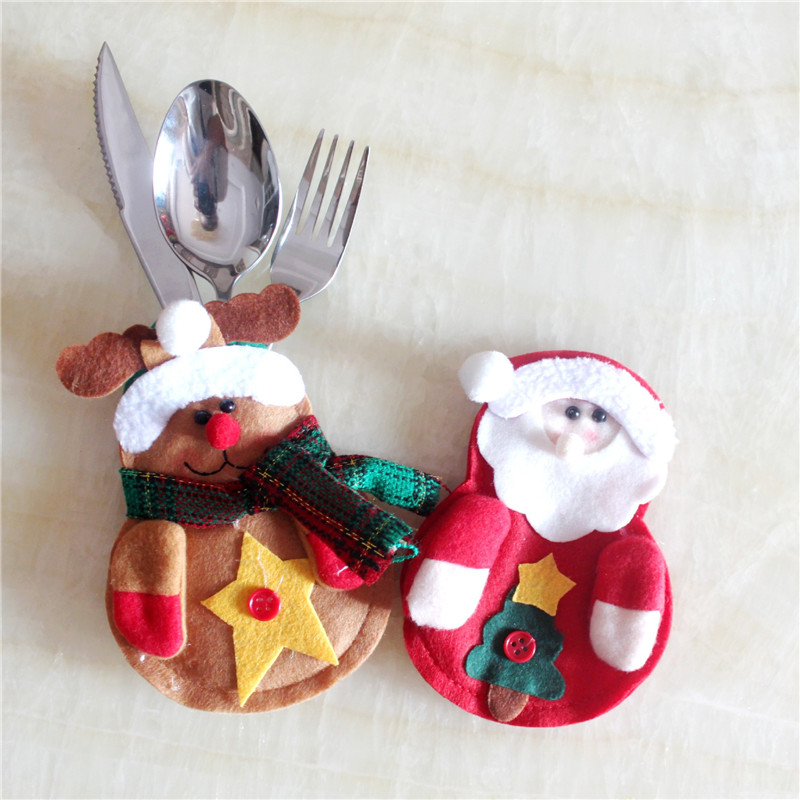 1Pcs Christmas Table Decoration Non-Woven Cutlery Bag New Year Fork Knife Tableware Holder